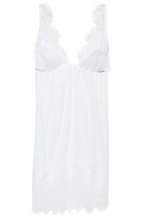I.D. Sarrieri Woman Lace-Paneled Tulle Chemise White