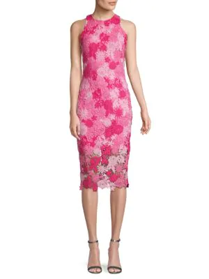 Alexia Admor Floral Lace Midi Dress In Pink Multi