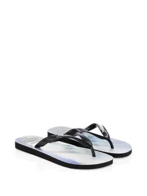 accbe4f7274f Havaianas Photo Print Flip Flop Sandals In Black Blue