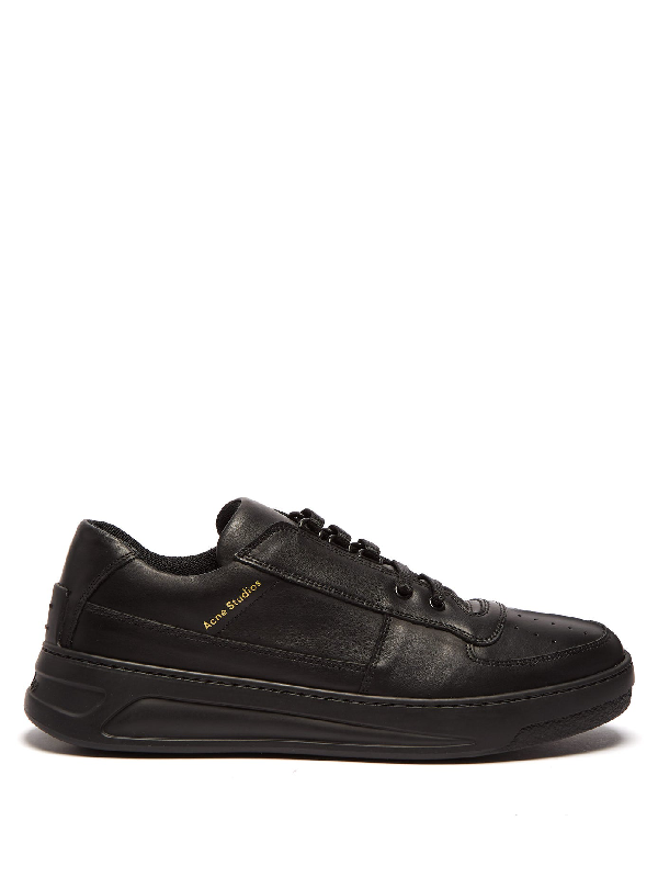 Acne Studios Perey Logo-print Leather Trainers In Black