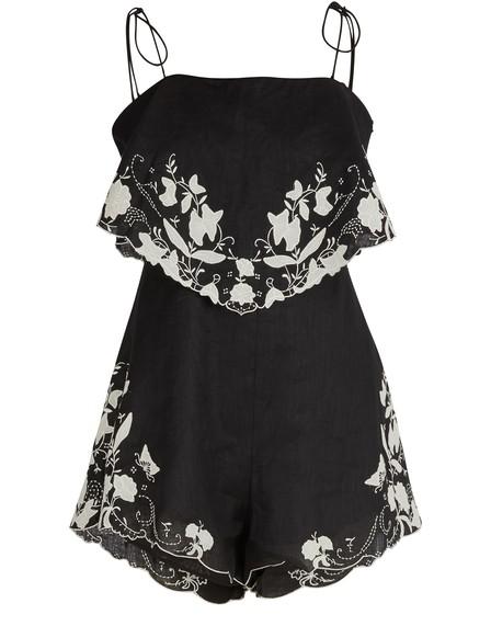 Zimmermann Black Floral Embroidered Juniper Linen Playsuit