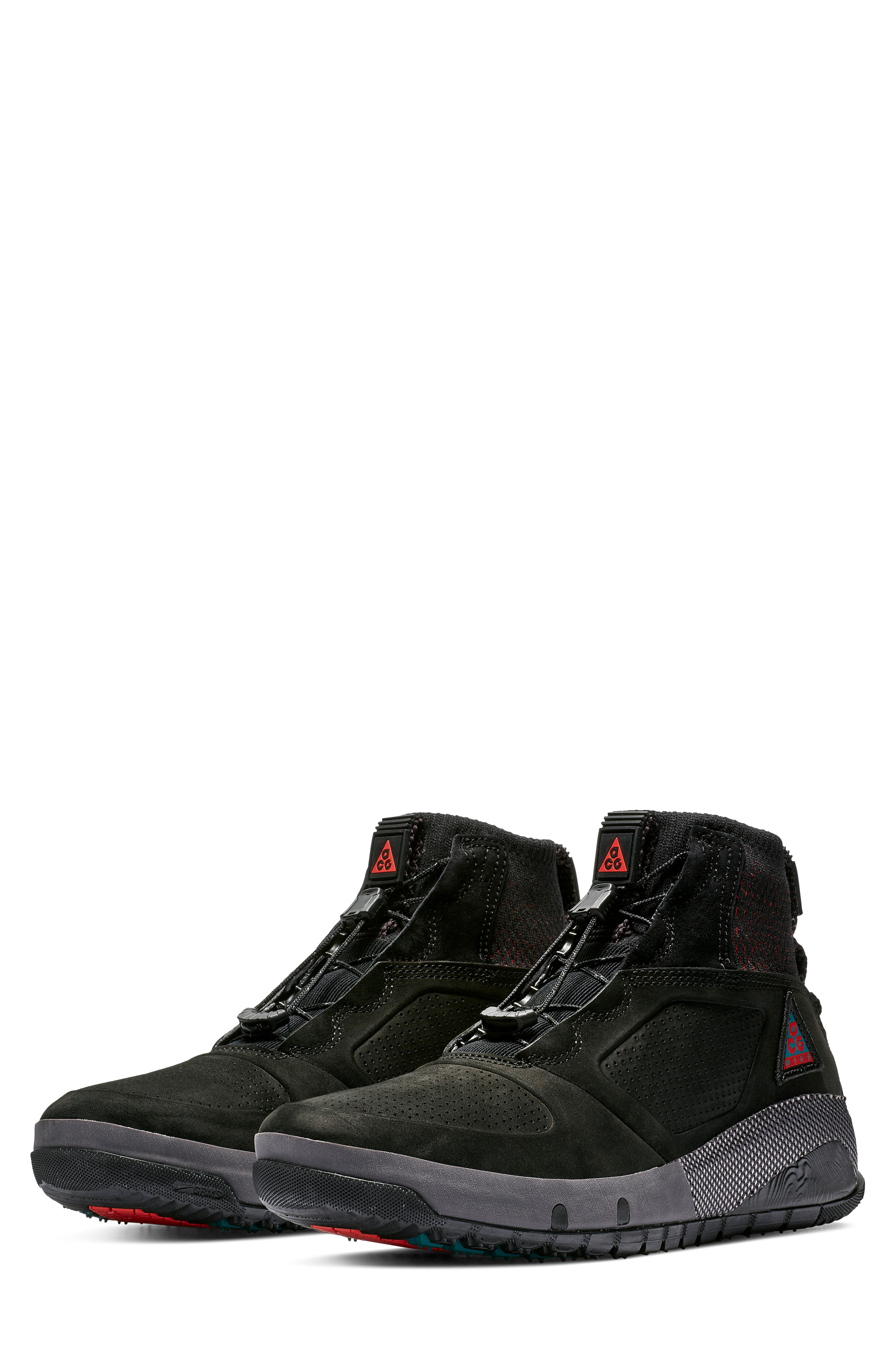 bf6ad4edea91 Nike Acg Ruckel Ridge Perforated Suede And Flyknit Sneakers In Black ...