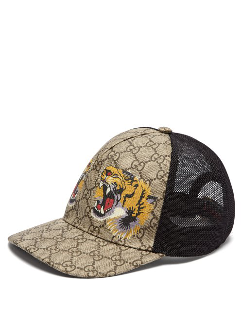 2f70336c6 Gucci Tigers-Print Gg Supreme Baseball Hat, Dark Brown/Black In 2160 Beige