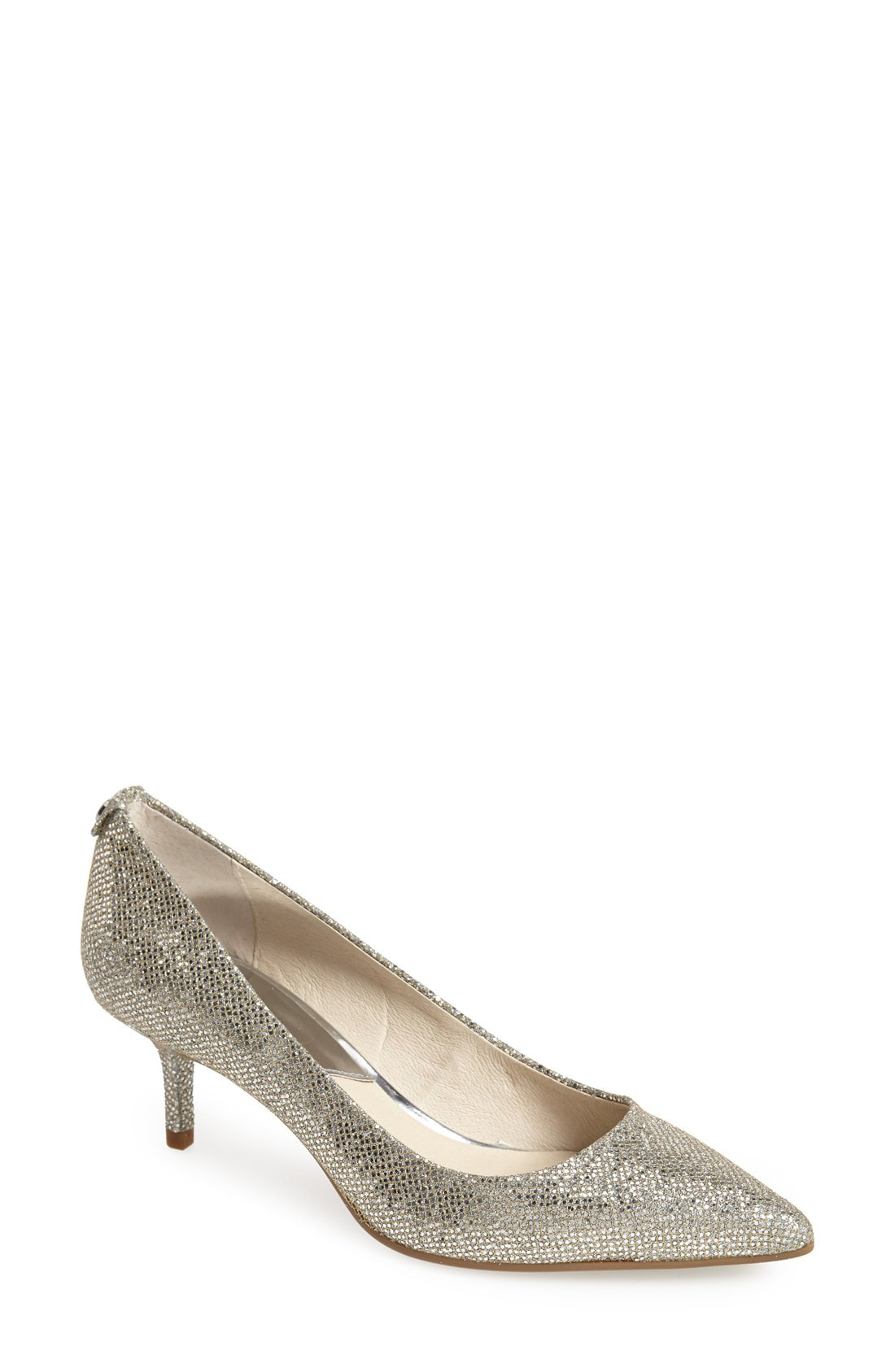 783c4a7fb54 Michael Michael Kors Mk Flex Kitten Heel Pumps In Silver Glitter ...