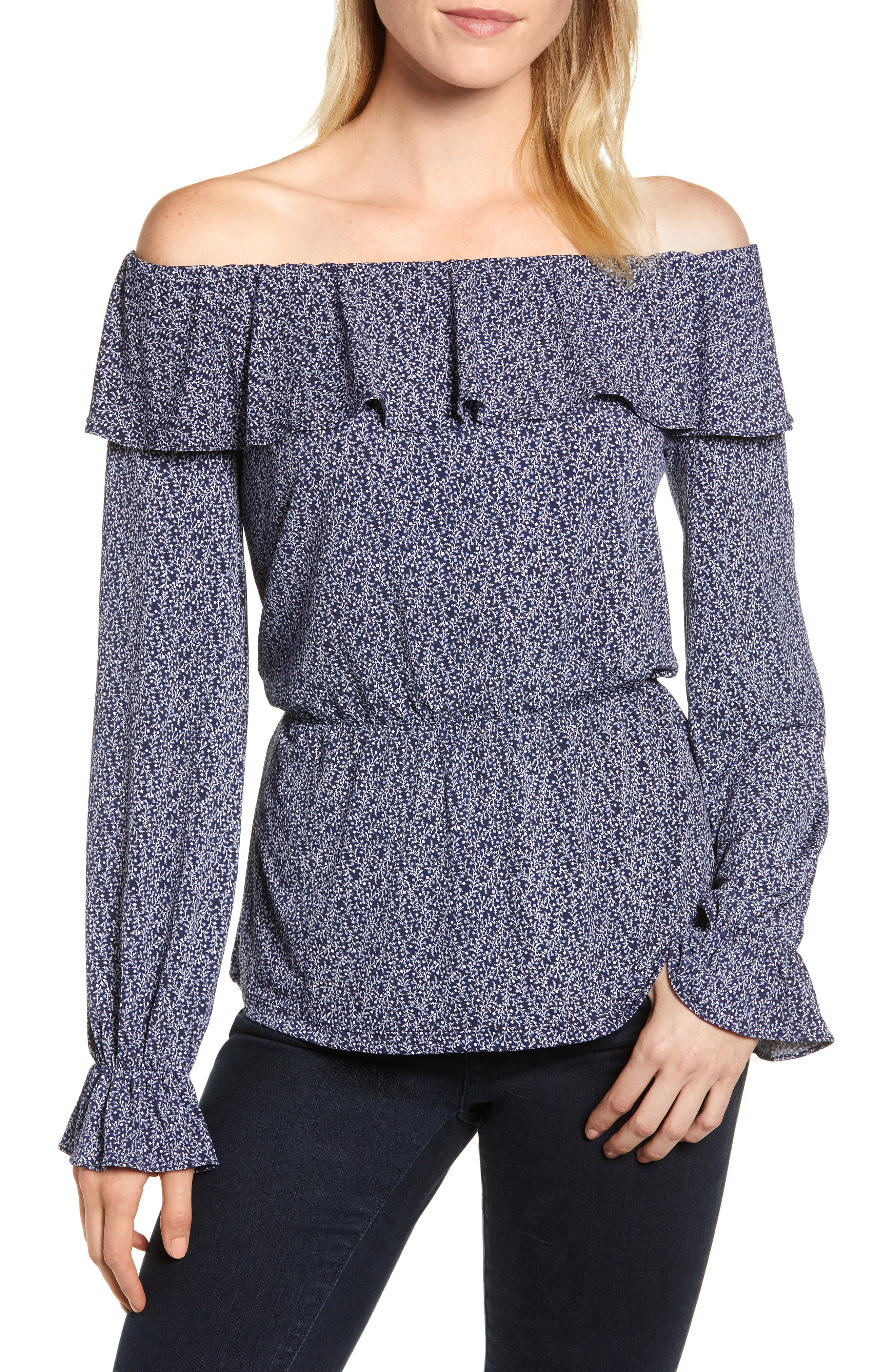 cafaa1f3ad4 Michael Michael Kors Off The Shoulder Ruffle Top In True Navy/ Chambray