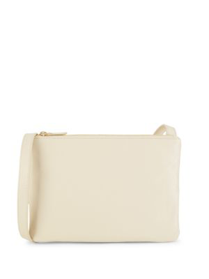 Saks Fifth Avenue Medium Two Zip Crossbody Bag In Ivory