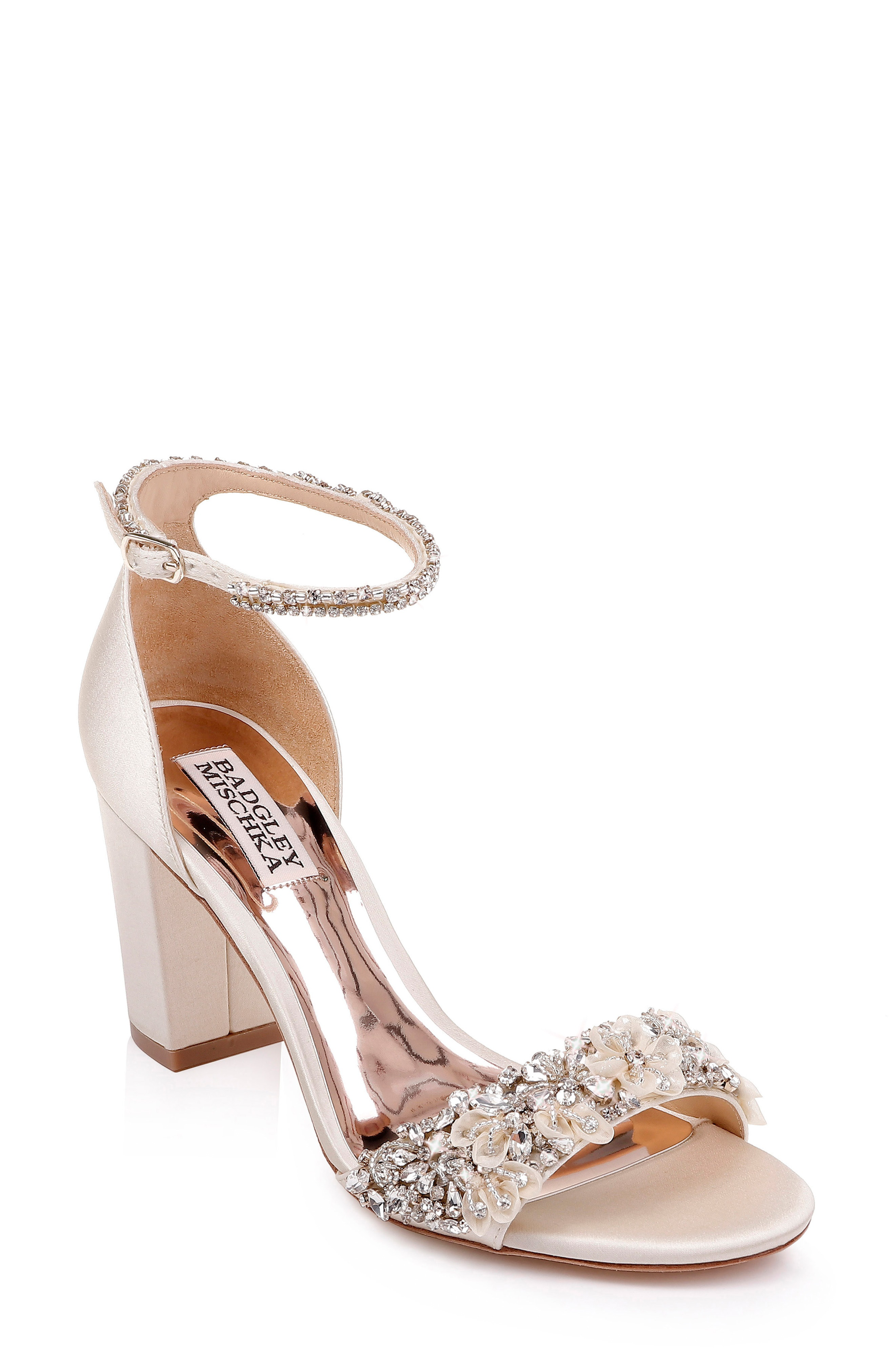 8388dc703 Badgley Mischka Women S Finesse Embellished Block Heel Sandals In Ivory  Satin