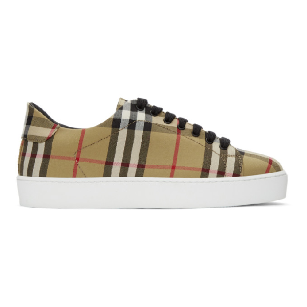 Burberry Westford Check Sneakers With Pvc Coating In Antique Yellow Cotton In Ant Yellow