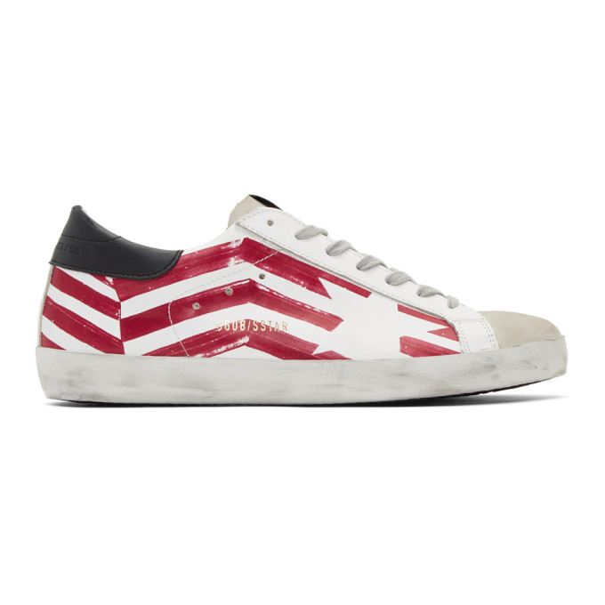 723d4ede06 GOLDEN GOOSE WHITE AND RED FLAG SUPERSTAR SNEAKERS