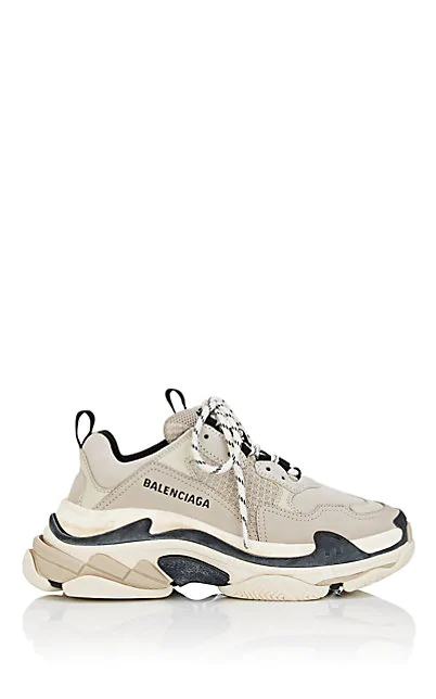 Balenciaga Triple S Mesh, Nubuck And Leather Sneakers In Light Gray