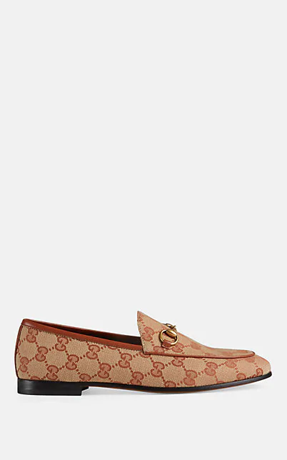 Gucci 'Jordaan' Gg Embroidered Canvas Horsebit Loafers In Med.Brown