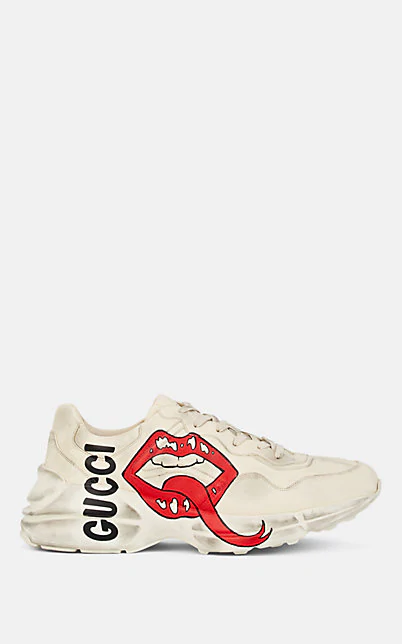 Gucci Men's Rhyton Leather Sneakers With Mouth Print In White