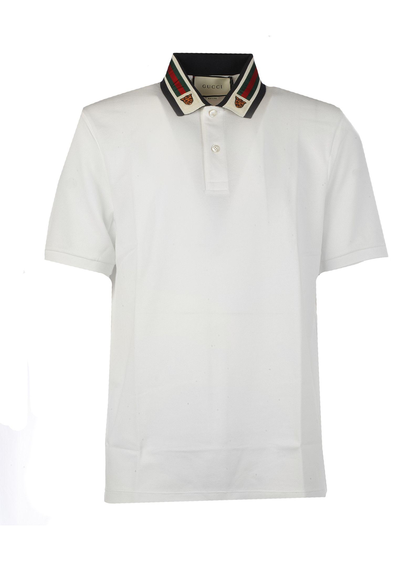 fa29d895c1a63a Gucci Tiger-Patch Cotton-Blend PiquÉ Polo Shirt In 9061 Bianco ...