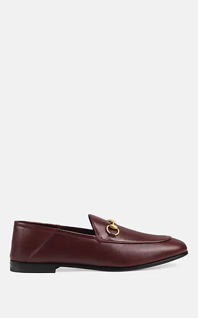 Gucci Brixton Horsebit-Detailed Leather Collapsible-Heel Loafers In Wine
