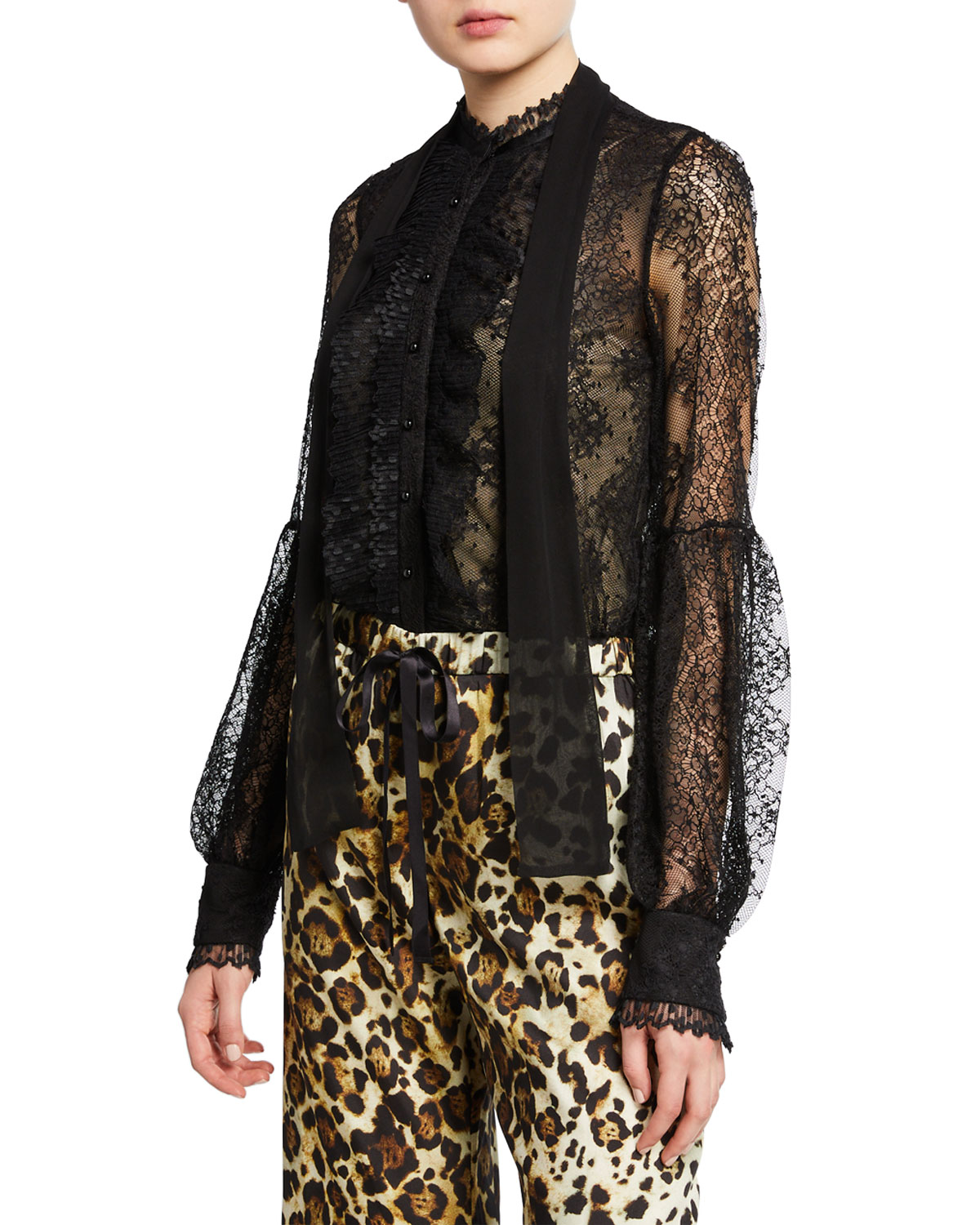 5f2b091a6a291 Alexis Aimee Button-Front Lace Long-Sleeve Top In Black