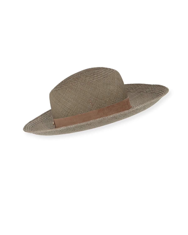 b72bd9c6 Janessa Leone Angelica Straw Upturn Fedora Hat In Silver Sage   ModeSens