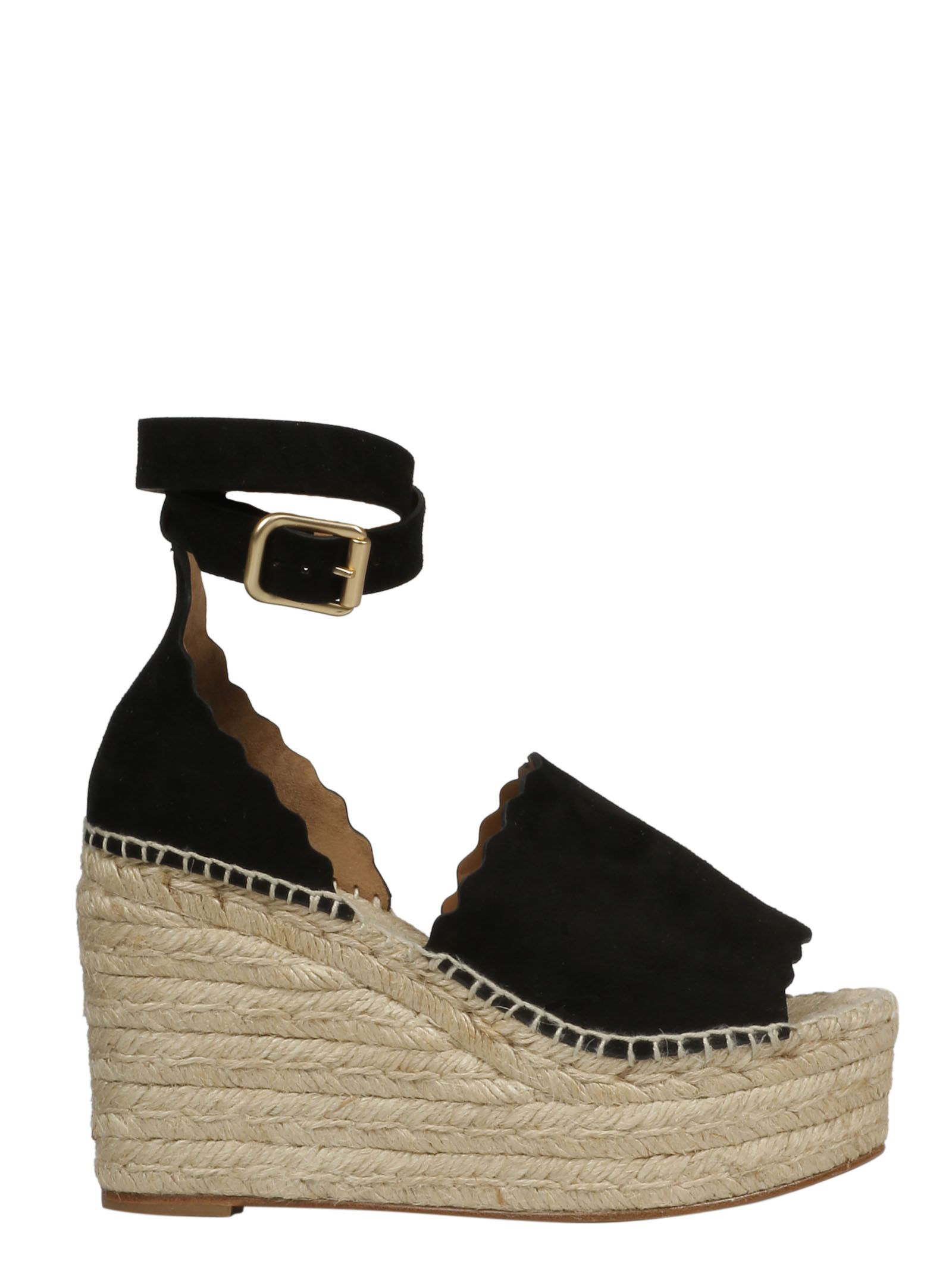 210bf7d6ce1 ChloÉ Lauren Suede Ankle-Strap Espadrille Wedge Sandals In Black ...
