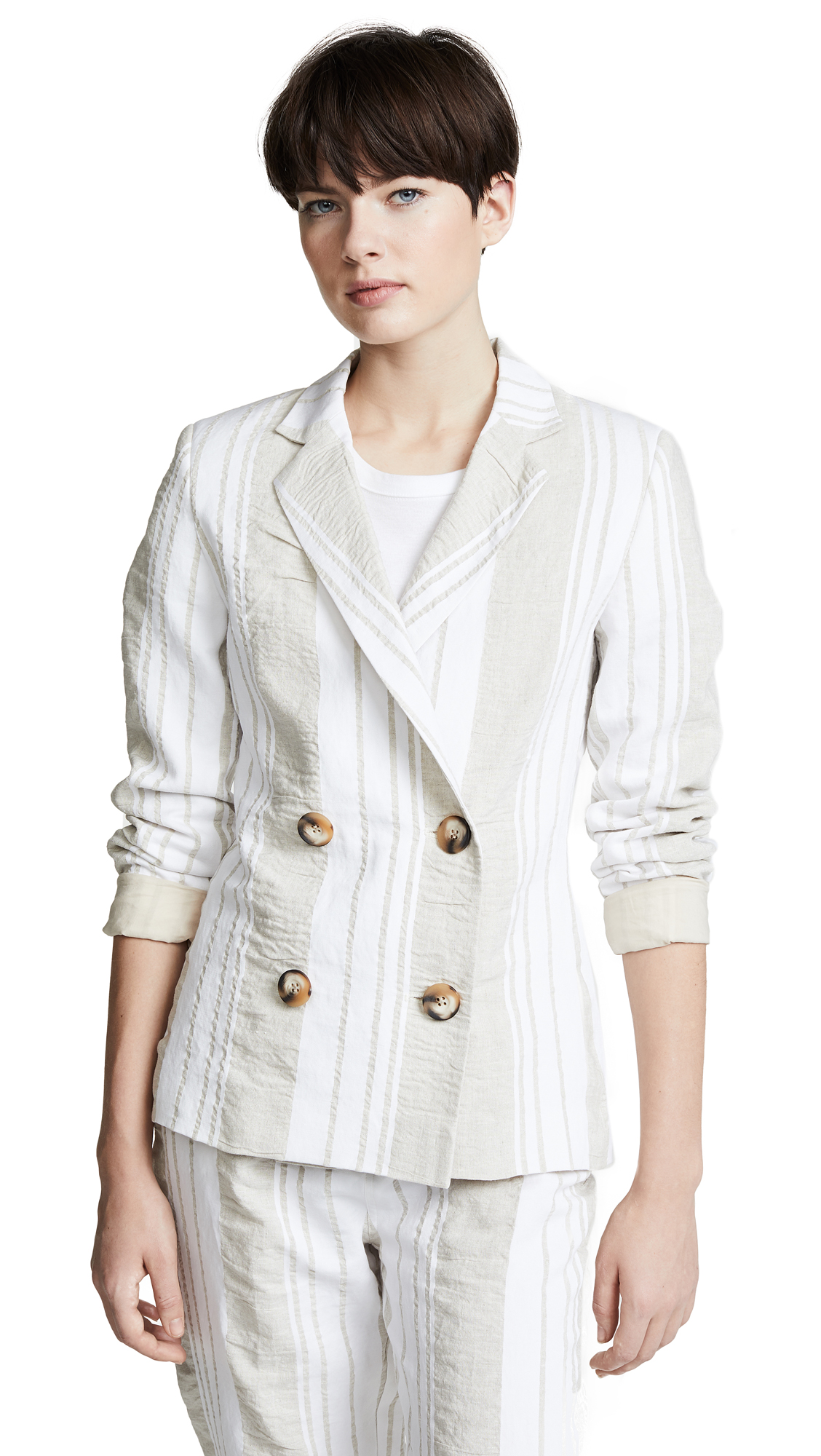 Anna October Soft Stripe Blazer In Beige/white