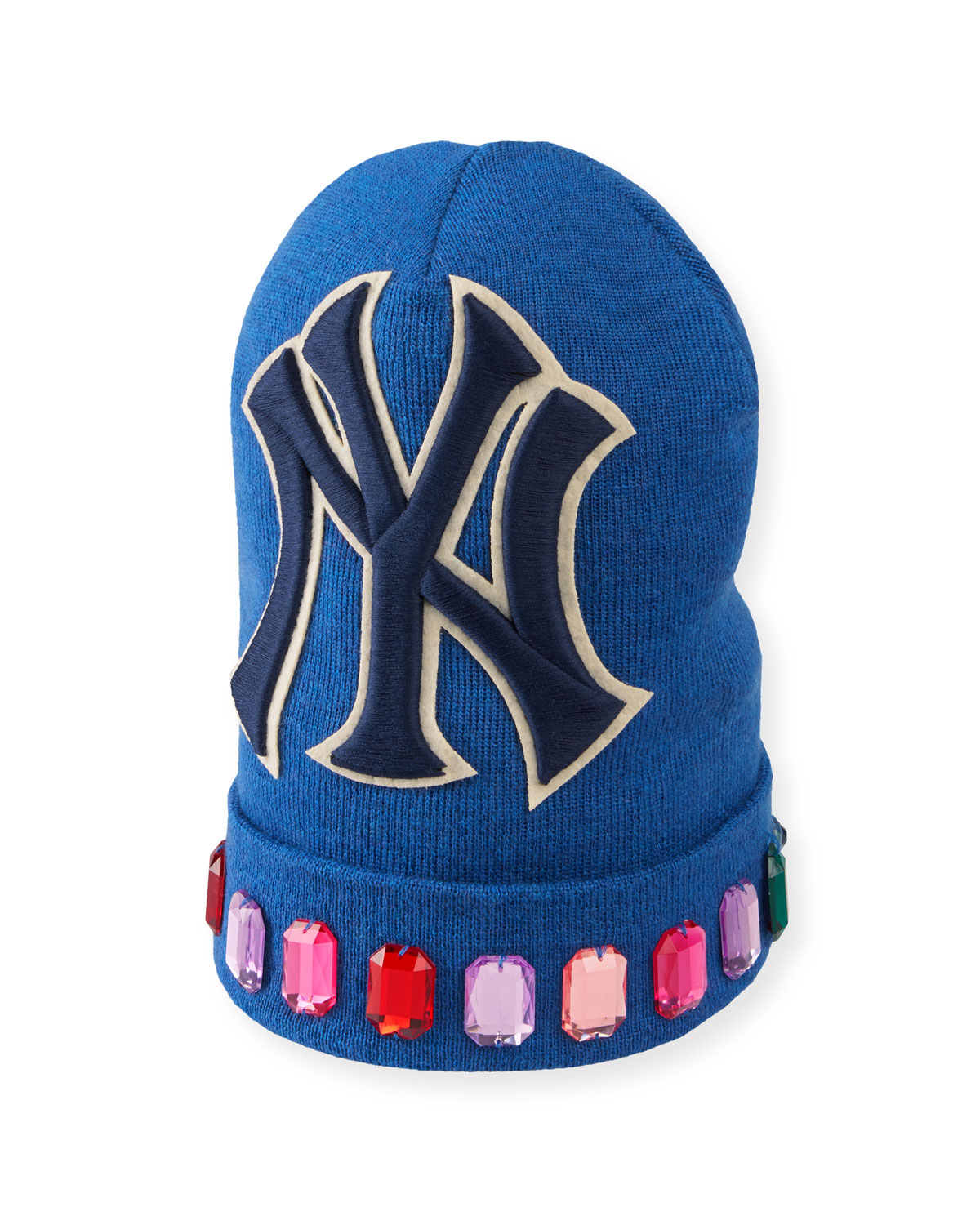 be6122eaa2a Gucci Men s Jewel-Trim New York Yankees-Applique Beanie Hat In Blue ...