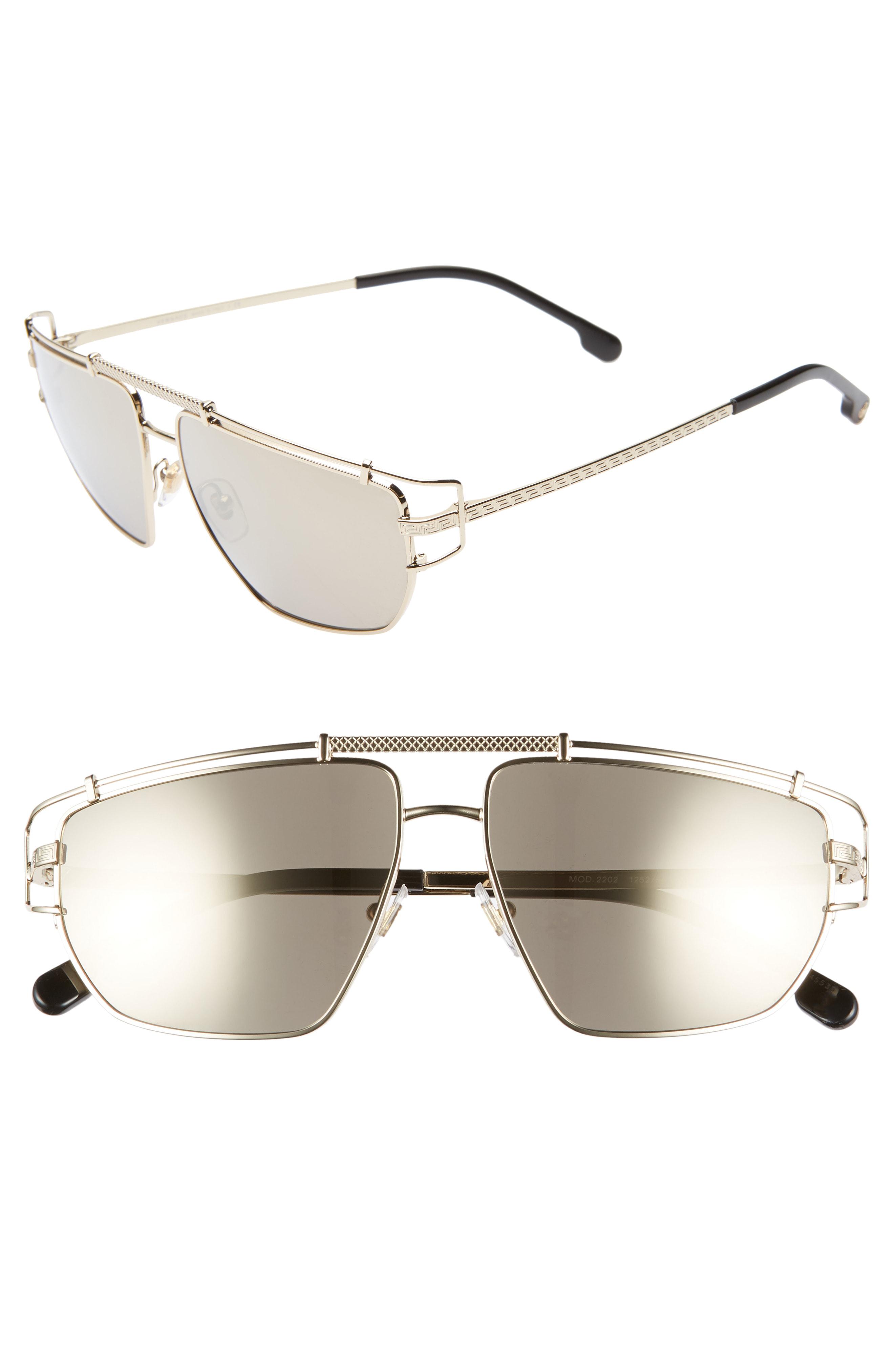 5ad704018f5 Versace Men s Mirrored Brow Bar Aviator Sunglasses