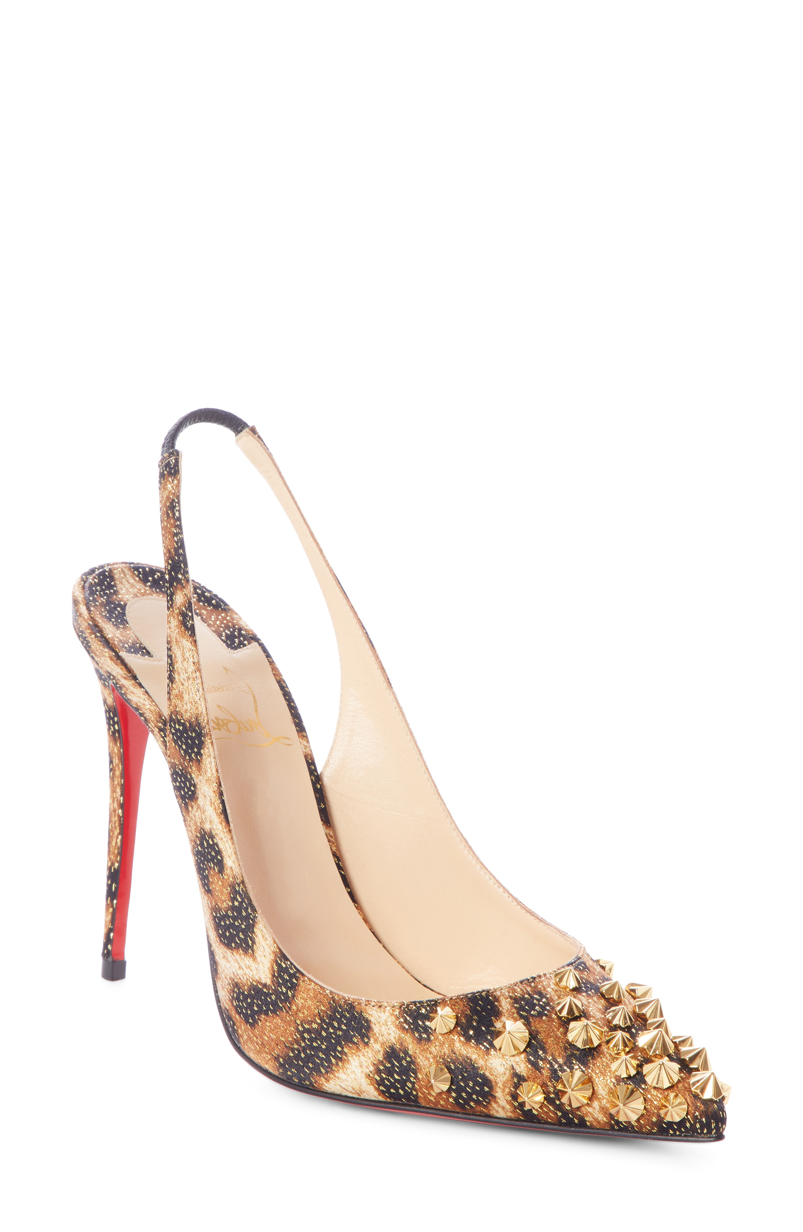 0429304fa3e1 Christian Louboutin Drama Sling 100Mm Spike Leopard Red Sole Pumps In  Black-Gold