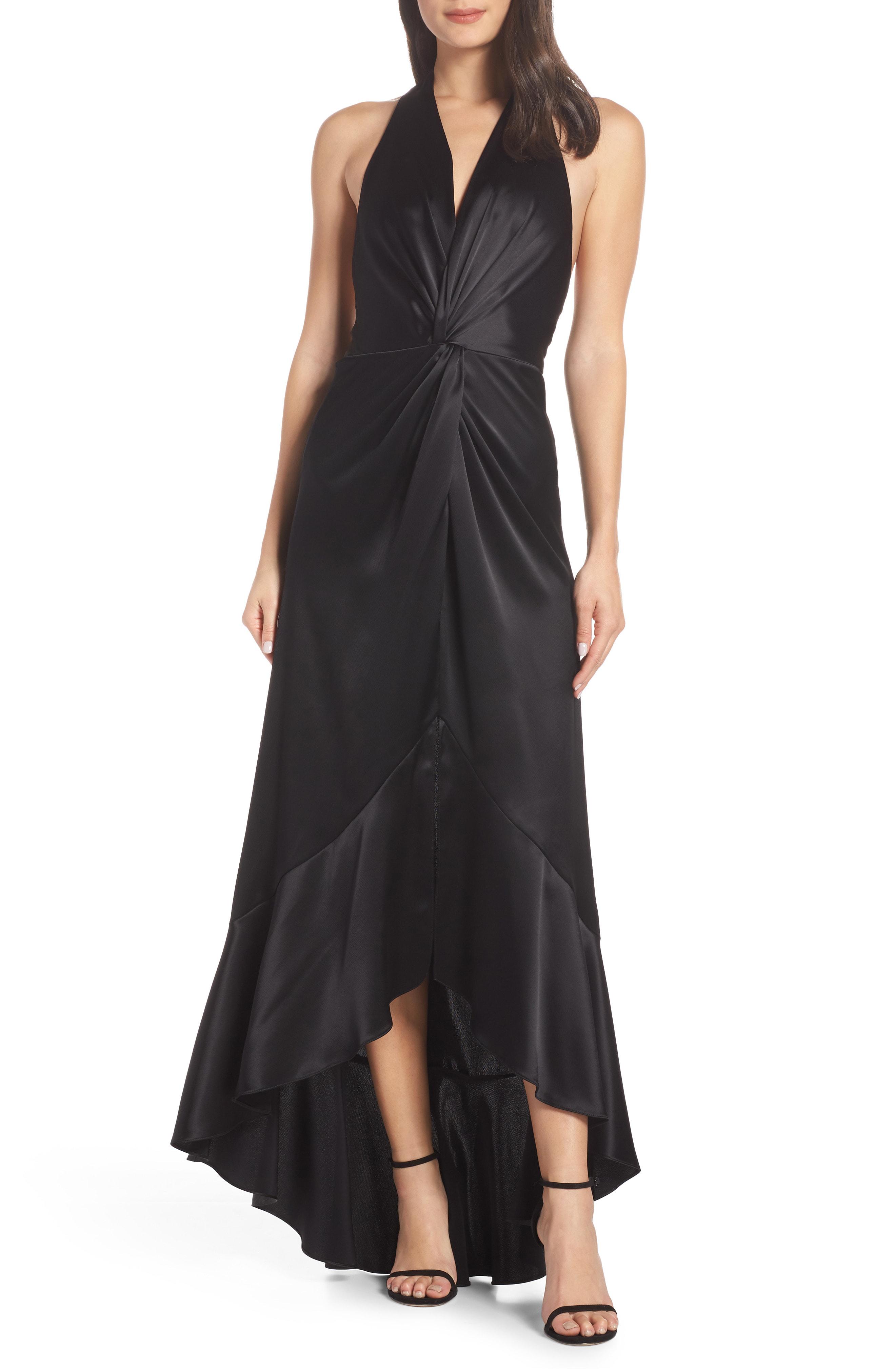 0b44188ed177 Jill Jill Stuart High/Low Twist Satin Evening Dress In Black | ModeSens