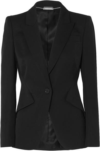Alexander Mcqueen Padded-shoulders Long-sleeved Crepe Jacket In Black