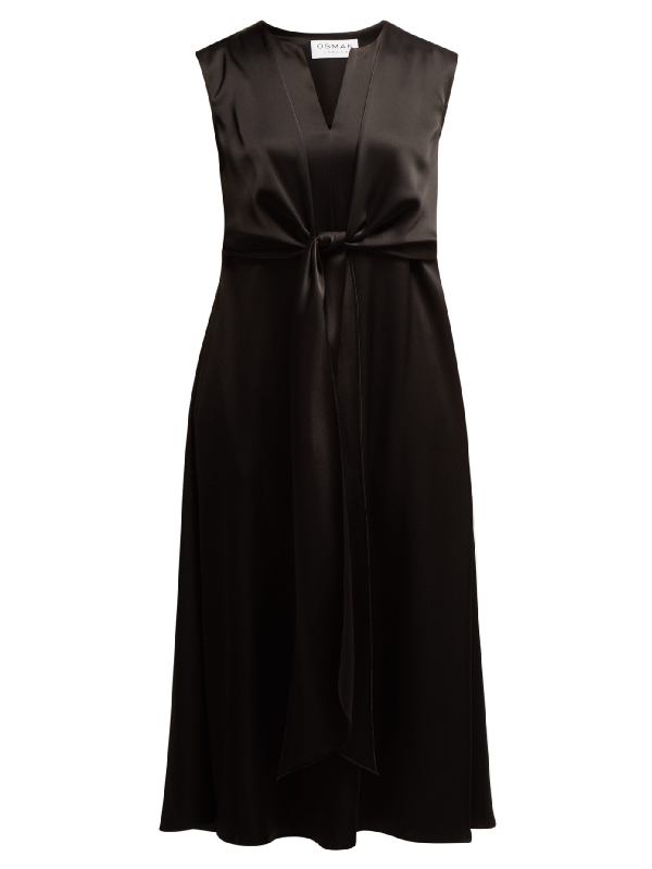 Osman V-neck Tie-front Dress In Black