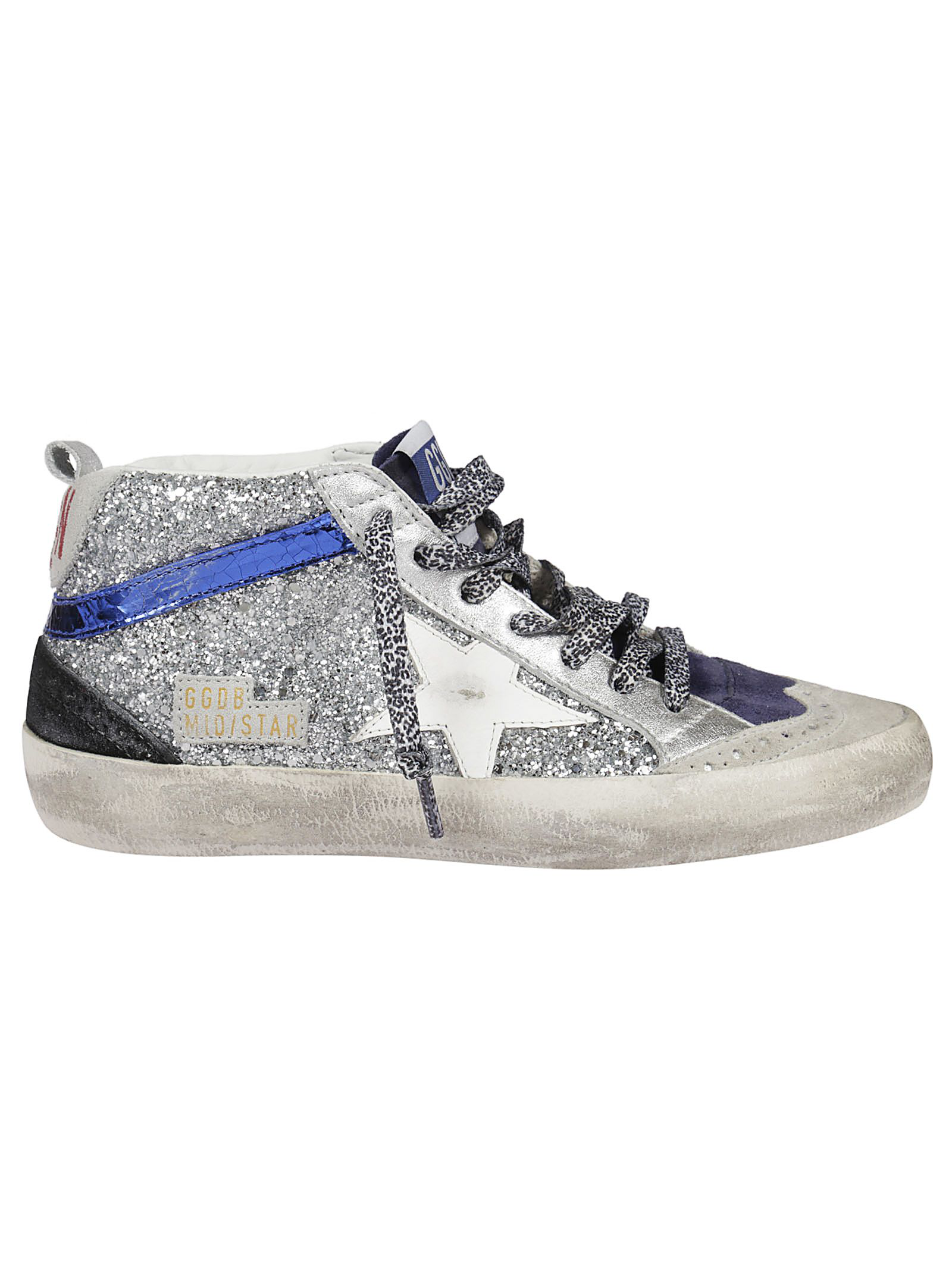 55c11085aef1ae Golden Goose Silver Glitter White Star Mid Star Sneakers