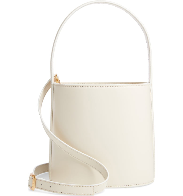 Staud Bissett Leather Bucket Bag In Cream
