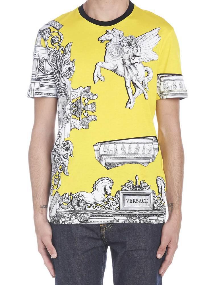 5aa90f98 Versace Sustainable Pegasus Print Slim Fit T-Shirt In Yellow | ModeSens