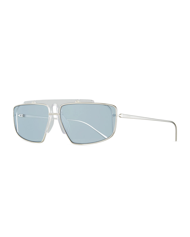 15616aab1f4 Prada Men s Square Wrap Sunglasses In Gray Blue