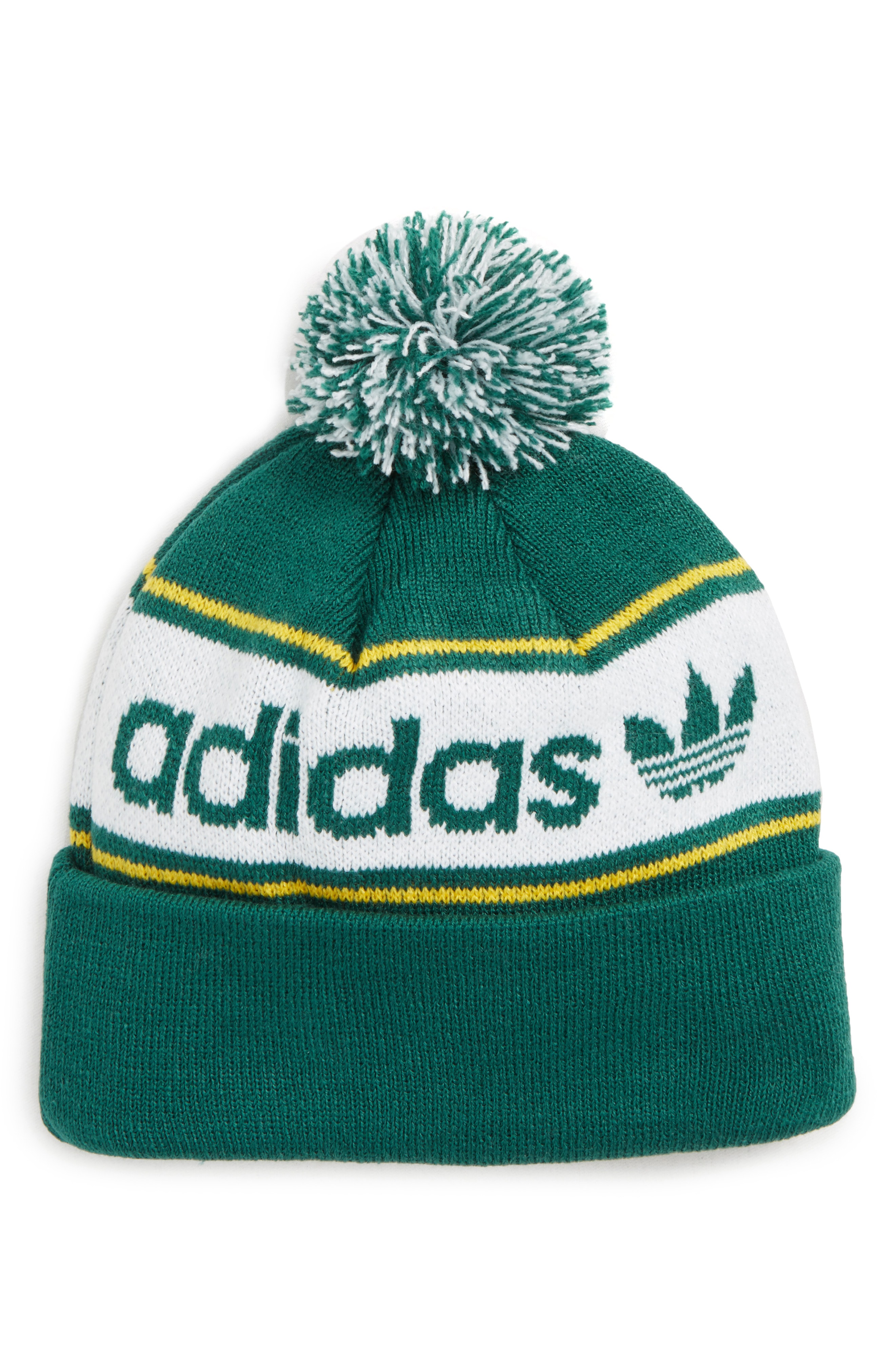 3f691b41583787 Adidas Originals Pom Beanie - Green In Noble Green/ White/ Gold ...