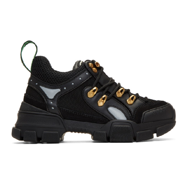 Gucci Chunky Plain Mixed-Media Hiker Sneakers In 1079 Black