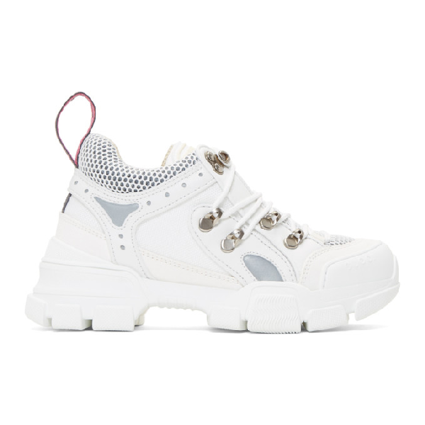 Gucci Flashtrek Logo-embossed Leather, Suede And Mesh Sneakers In 9087 White