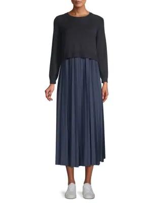 65af1c1bb57 Weekend Max Mara Pleated Chiffon   Knit Midi Sweater Dress In Navy ...