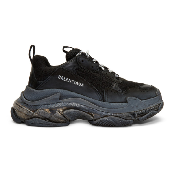 Balenciaga Men's Triple S Tonal Mesh & Leather Sneakers In Black