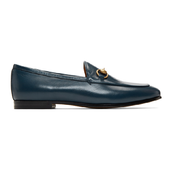 Gucci 10mm Jordaan Horsebit Leather Loafers In 4157 Blue
