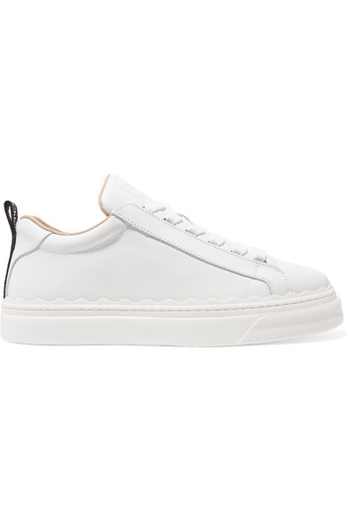ChloÉ Lauren Scallop Edge Leather Trainers In 101 White