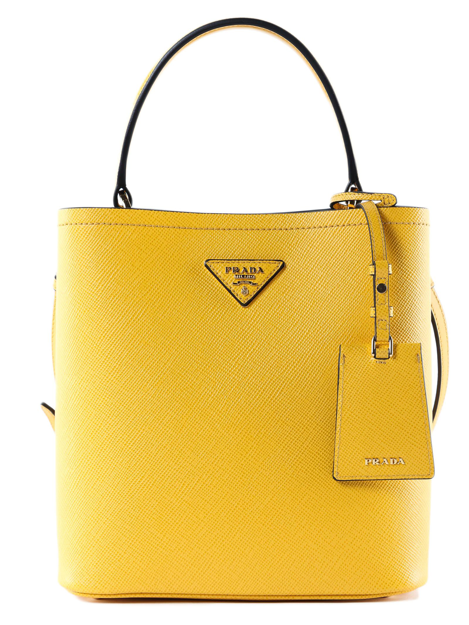 15e53359ad93 Prada Double Medium Leather Tote In Yellow