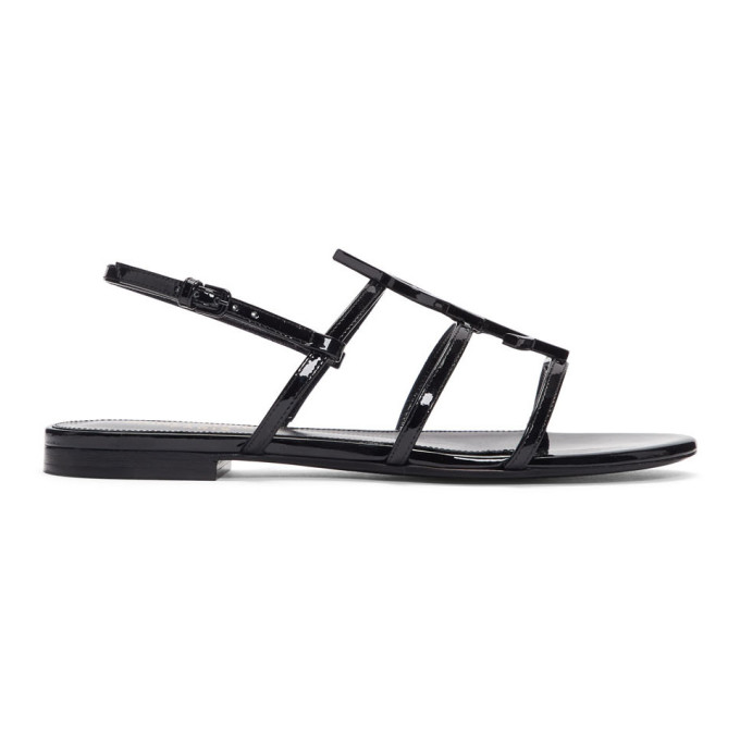 Saint Laurent Cassandra Black Patent Leather Flat Sandals