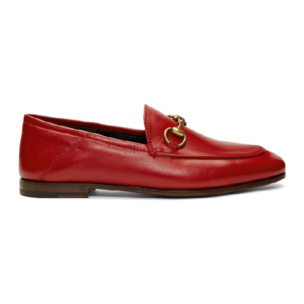 Gucci Brixton Collapsible Leather Loafers In 6433 Rosso