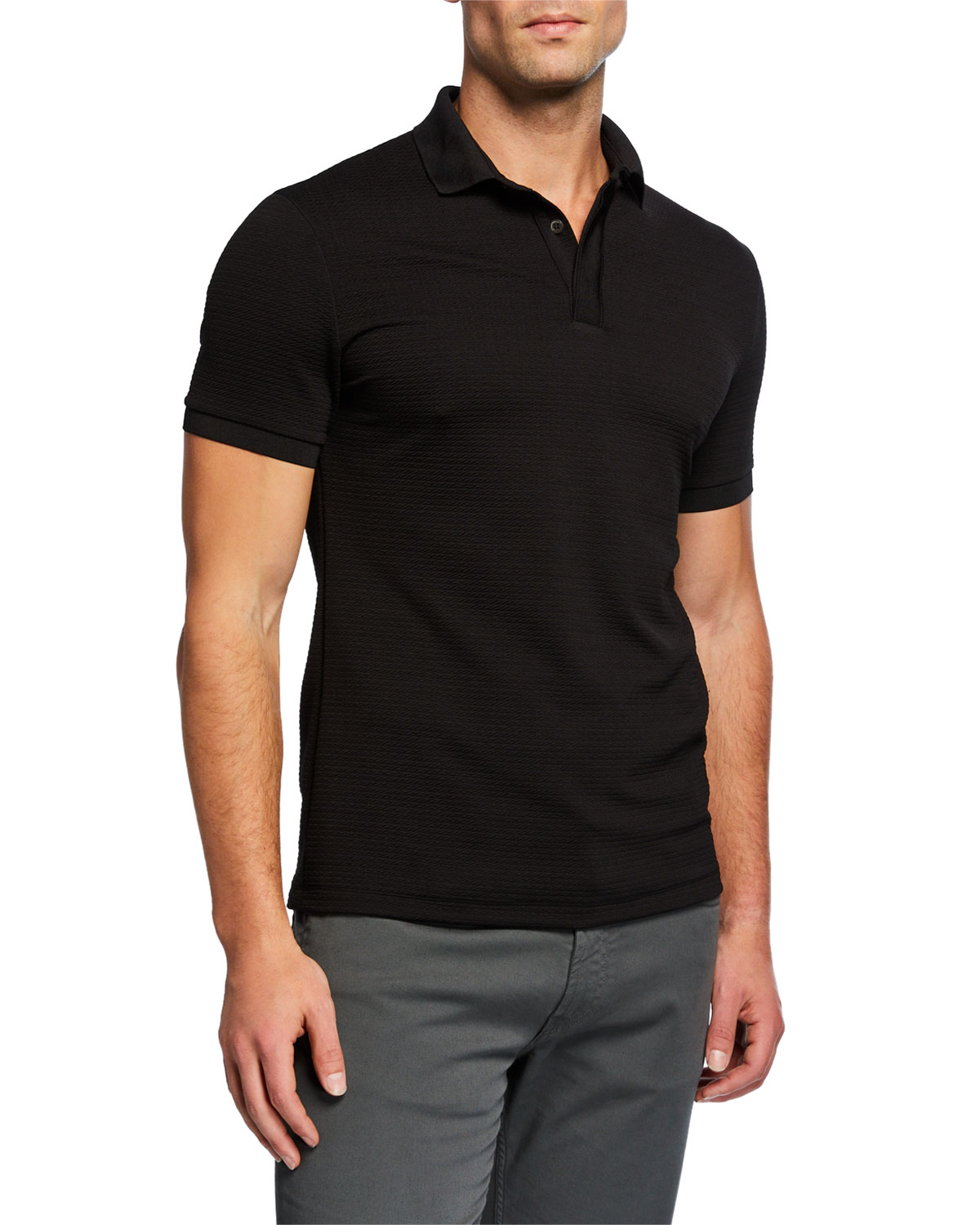 60bd1954 Emporio Armani Textured Collar Slim-Fit Polo Shirt In Solid Black ...