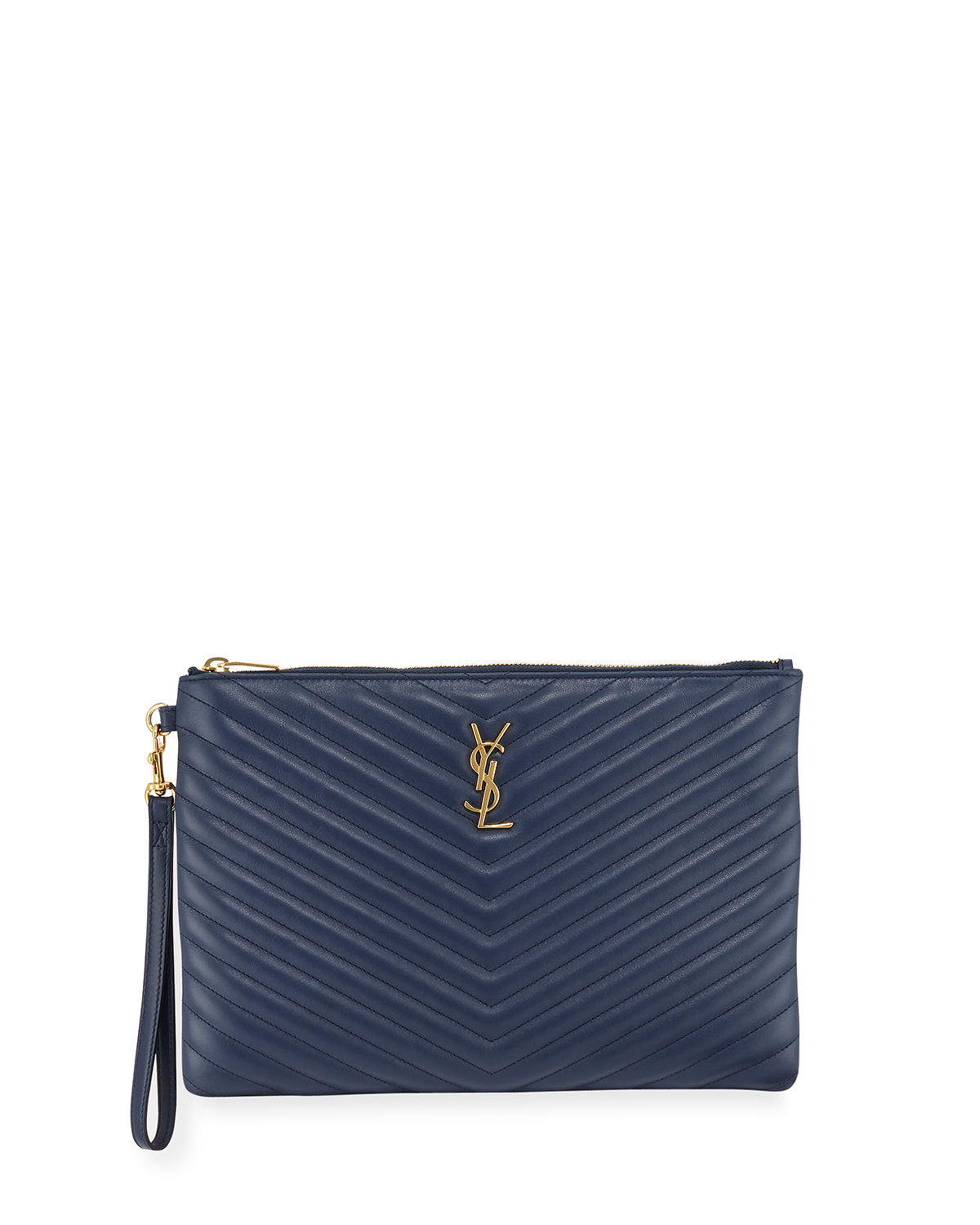622cd54342a4 Saint Laurent Monogram Ysl Quilted Wristlet Pouch Bag In Denim Brut ...