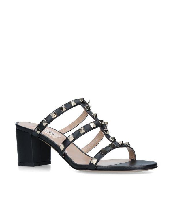 Valentino Garavani Women's Rockstud Cage Mule Slide Sandals In Black