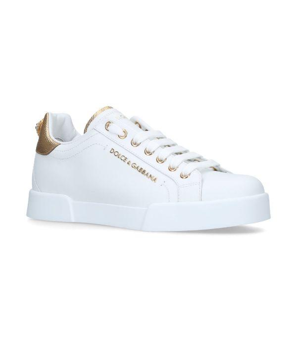Dolce & Gabbana Dolce And Gabbana White And Gold Pearl Portofino Sneakers