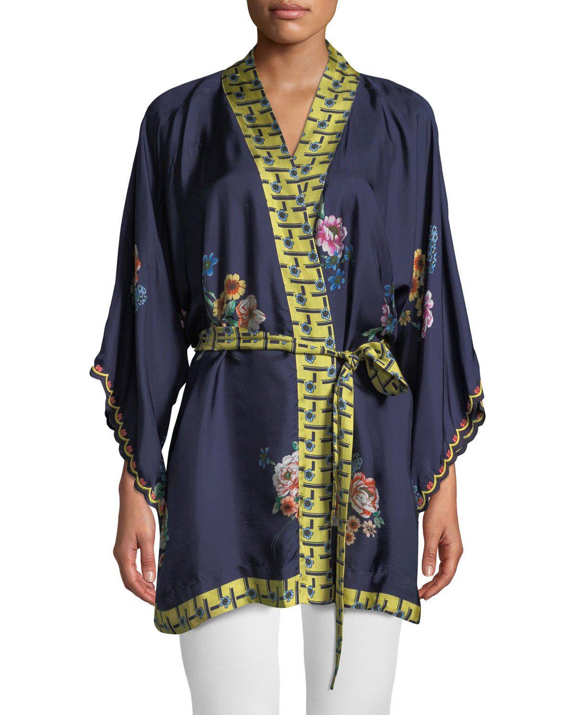42185b791cd Johnny Was Plus Size Zuki Printed Silk Twill Kimono Jacket W  Sash Belt In  Multi