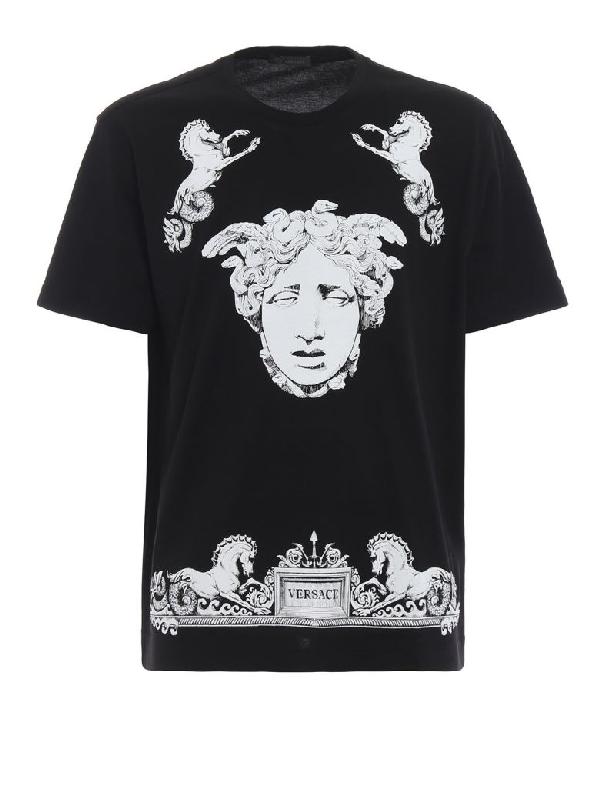 4773a01a Versace Medusa-Print Cotton-Jersey T-Shirt In A008 Black | ModeSens