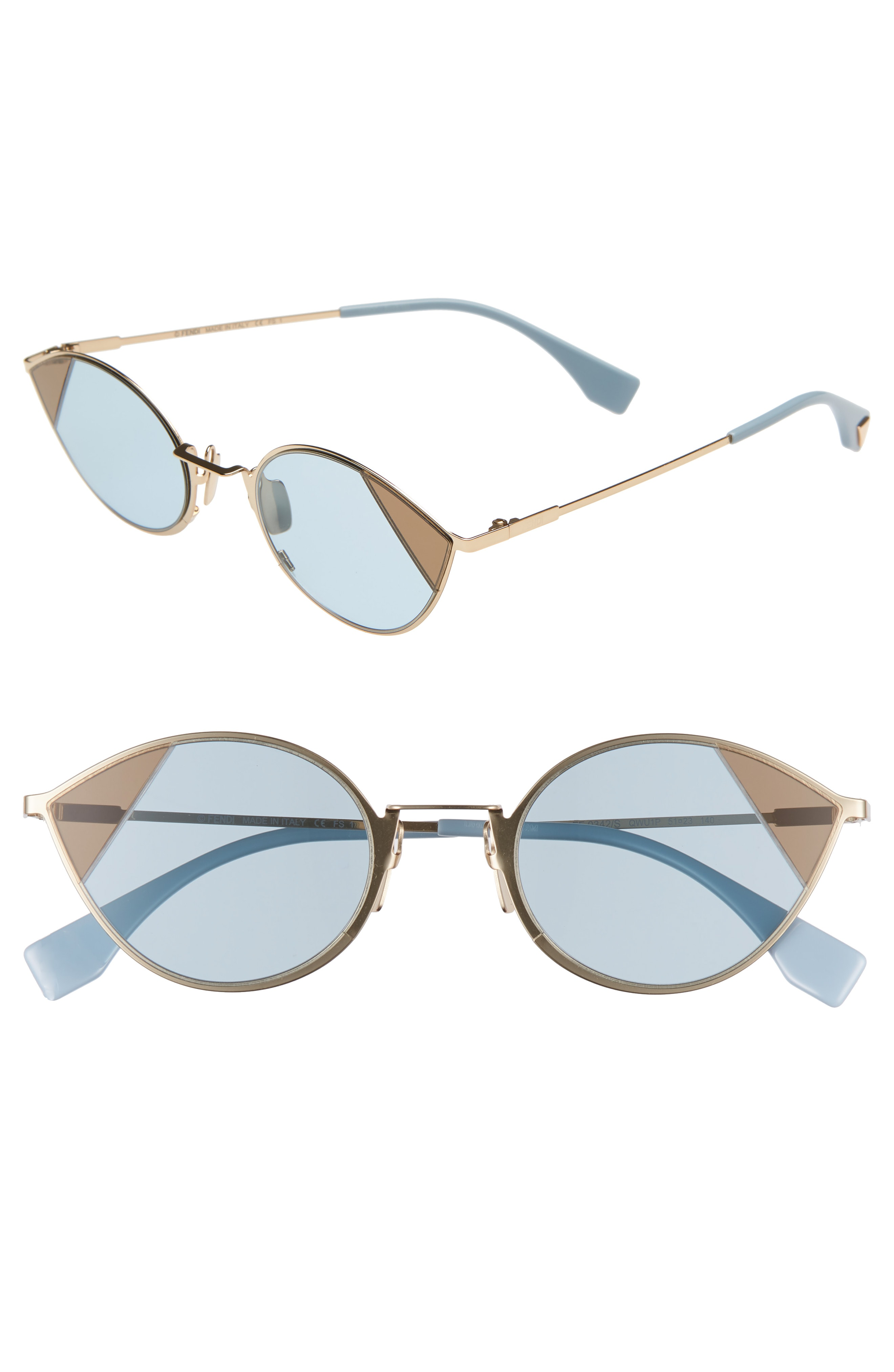 d8dba705e984 Fendi Narrow Cat Eye Color Block Sunglasses In Gold Azure