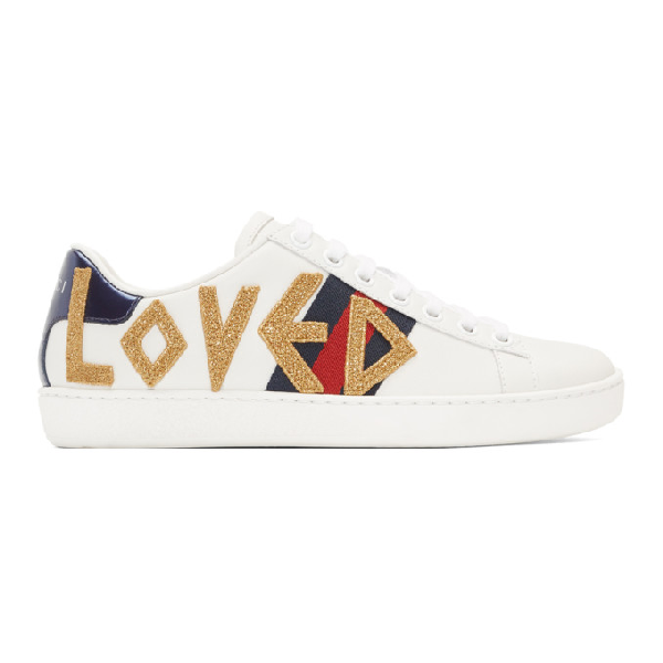 Gucci Low-Top Sneakers New Sneaker Ace Love  Calfskin Logo White In 9095 White